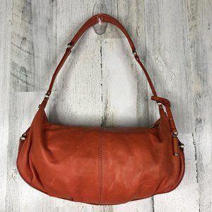 Orange leather mini hobo shouder bag